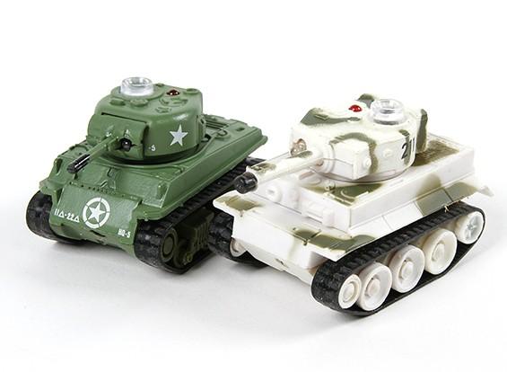 Control de infrarrojos micro tanques de combate Set (M4 Sherman y alemán Tiger 1)
