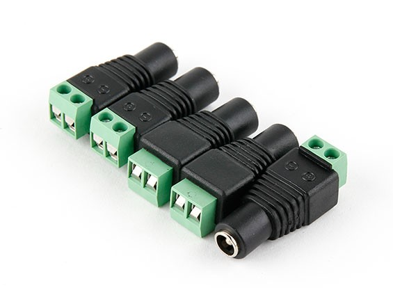 2.1mm DC toma de corriente con tornillo Bloque de terminales (5pcs)