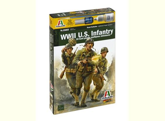 Italeri 1/56 Escala de WWll estadounidense de infantería figura militar Kit