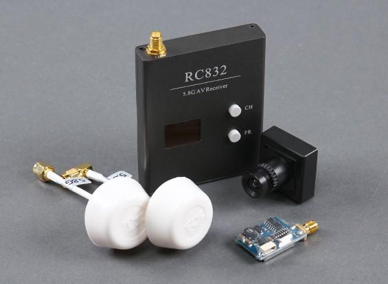 Skyzone Plug & Play FPV 200-Set Con TS5823 TX, RX RC832, Sony CCD y circulares antenas de polarización