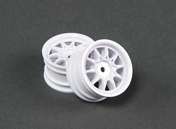 Ride 1/10 Mini 10 radios de la rueda 0 mm Offset - Blanco (2 unidades)
