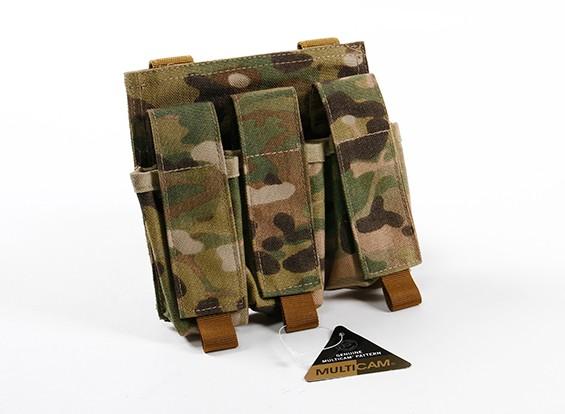 SWAT 500D Nylon Molle arma de mano Triple Mag Pouch (multicámara)
