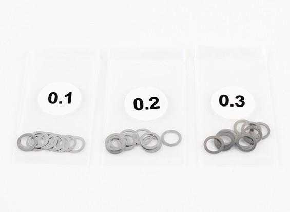 Acero inoxidable de 5 mm Cuña Espaciador 0.1 / 0.2 / 0.3 (10pcs cada uno) - 3Racing SAKURA FF 2014