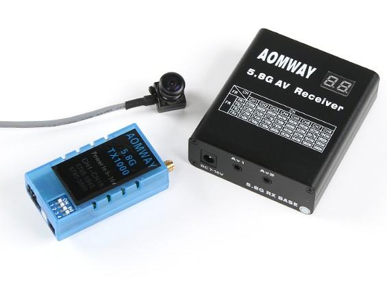 Aomway 5.8GHz 1000 MW TX1000, receptor RX04 y 600 líneas de TV conjunto de cámara CMOS de 5V (Pal) w / o DVR
