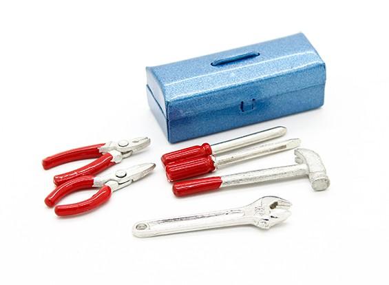 Caja de Herramientas 1/10 escala metal con las herramientas (asas de color rojo)
