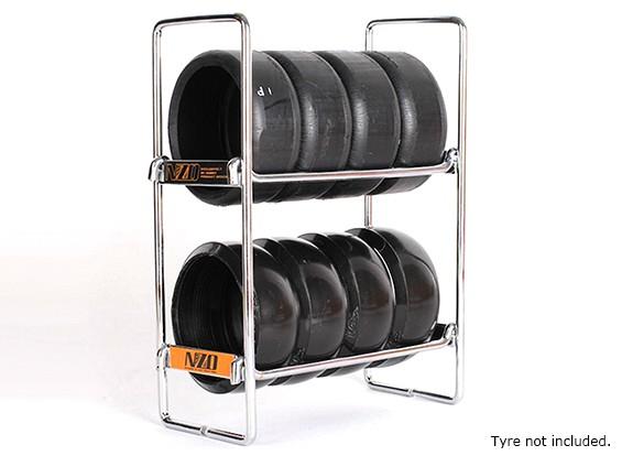 NZO 1/10 escala Tire Rack - plata