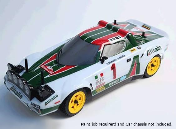 Rally Leyendas carrocería del coche 1/10 Lancia Stratos sin pintar w / Adhesivos
