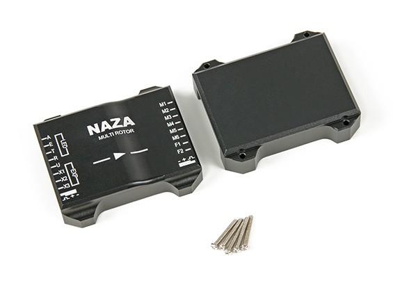 CNC de aluminio funda protectora para el regulador de vuelo Naza (Negro)