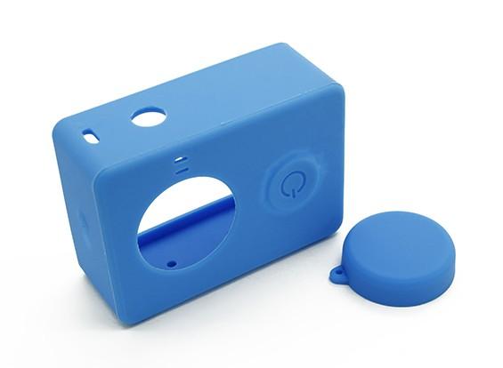 Caso de protección y tapa del objetivo para la acción de la cámara Xiaoyi (azul)
