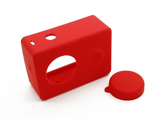 Funda protectora de silicona y la tapa del objetivo para la acción de la cámara Xiaoyi (rojo)