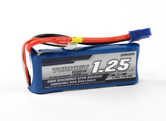 Turnigy 1250mAh 20C 2S LiPoly paquete w / EC3 (E-Flite Compatible EFLB12502S)