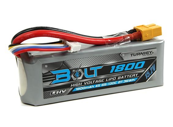 Perno Turnigy 1800mAh 15.2V 4S 65 ~ 130C alto voltaje Lipo Pack (LiHV)