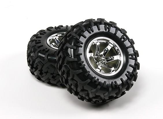 HobbyKing ® ™ 1/10 sobre orugas de 130 mm ruedas y Llantas (plata Borde) (2 unidades)
