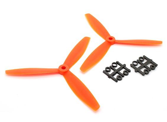 GemFan 6040 GRP 3-Blade Propulsores CW / CCW Conjunto Naranja (1 par)