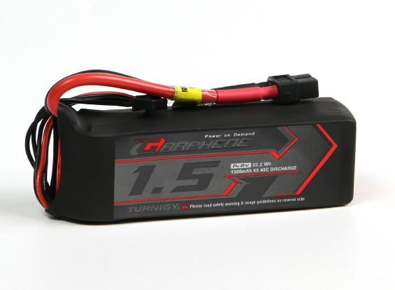 El grafeno Turnigy 1500mAh 45C Lipo 4S paquete w / XT60