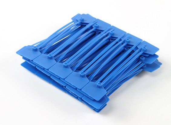 Sujetacables de 120 mm x 3 mm azul con marcador Tag (100pcs)