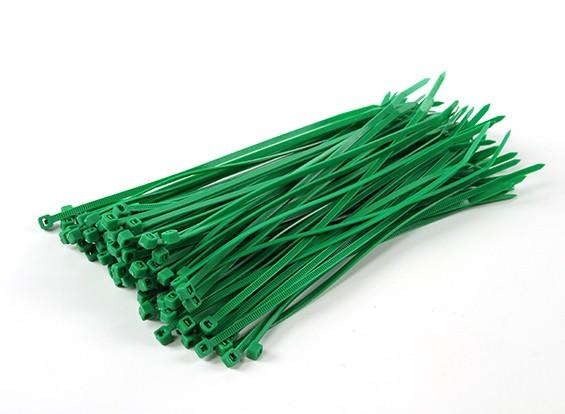 Sujetacables de 150 mm x 3 mm Verde (100pcs)