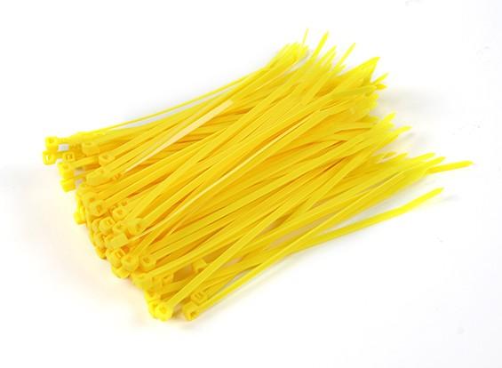 Sujetacables de 150 mm x 4 mm amarillas (100 piezas)