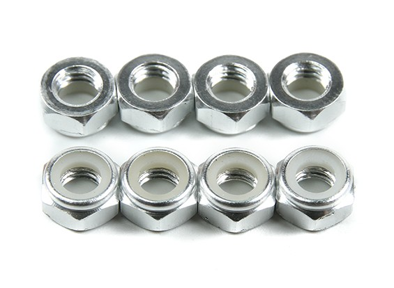 De aluminio de perfil bajo Nyloc Tuerca M5 plata (CW) 8pcs