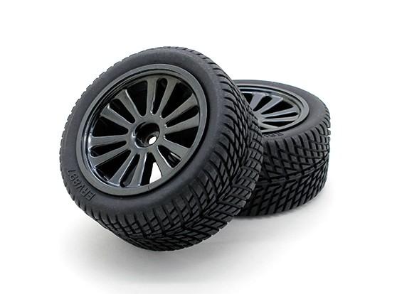 GPM Racing 1/16 Mini E Revo F / R radial de neumáticos de caucho w / Insertar (40 g) y PLA F / R Llantas (6P) (Negro) (1PR)