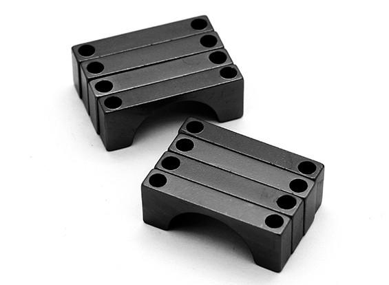 Negro anodizado CNC semicírculo aleación de tubo de sujeción (incl.screws) 25mm