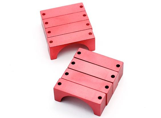Rojo anodizado CNC semicírculo aleación de tubo de sujeción (incl.screws) 25mm