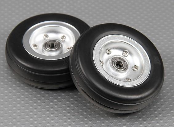 Escala Jet / Warbird de aleación de 70 mm de la rueda w / Ranuras de neumático de goma / Ballraced (2 piezas)