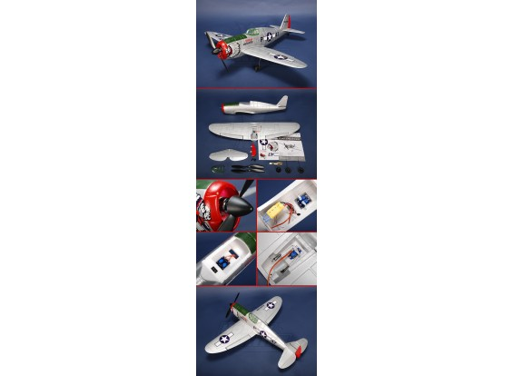 P-47 de combate de Thunder R / C avión EPO Plug-n-Fly