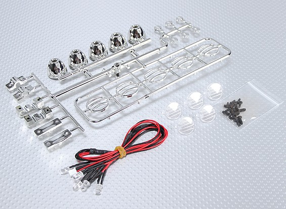 1/10 orugas LED Light Bar Set (Chrome Efecto)
