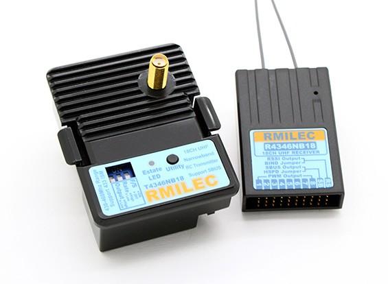 RMILEC T4346NB18-J / R4346NB18 430-460Mhz 18CH LRS Sistema de Radio (Configuración de patillas JR)