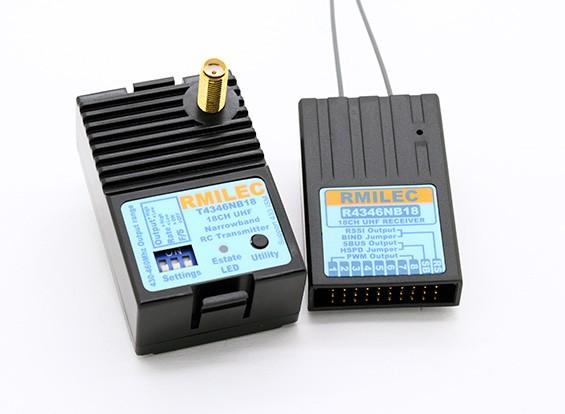 RMILEC T4346NB18-F / R4346NB18 430-460Mhz 18CH sistema de radio LRS (Configuración de patillas Futaba)