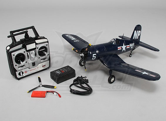 Micro F4U Corsair 5NL 550mm w / 2,4 GHz TX / RX, cargador y lipo (RTF - Modo 2)