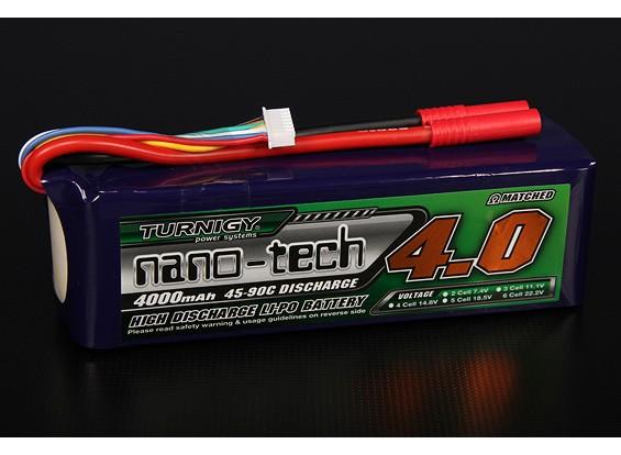 Turnigy nano-tech 4000mah 6S 45 ~ 90C Lipo Pack de
