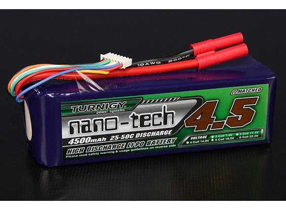 Turnigy nano-tech 4500mAh 6S 25 ~ 50C Lipo Pack de