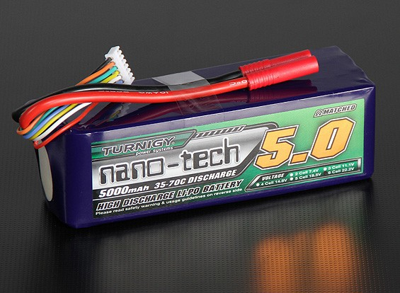 Turnigy nano-tech 5000mah 6S 35 ~ 70C Lipo Pack de