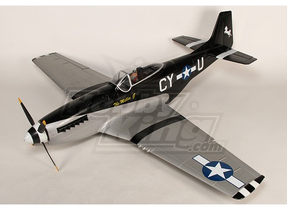 P-51D Mustang Monster 1.55m 6Ch XL-EPO - PNF 61inch (Negro)