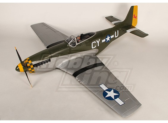 P-51D Mustang Monster 1.55m 6Ch XL-EPO - PNF 61inch (verde)