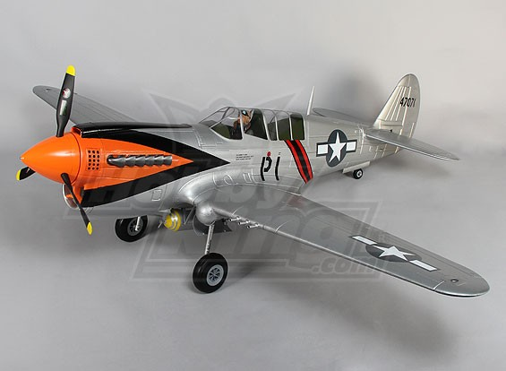 P-40N escala gigante w / aletas y se retrae 1700mm EPO Plata (ARF)