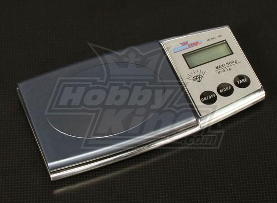 Escala del bolsillo de Hobbyking retro LCD de 0,1 g ~ 500g
