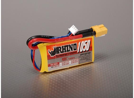 Rhino 1050mAh 2S 7.4V 40C Lipo Pack de
