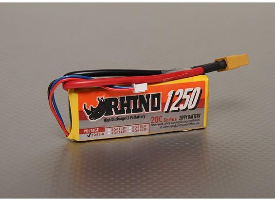 Rhino 1250mAh 2S 7.4V 20C Lipo Pack de