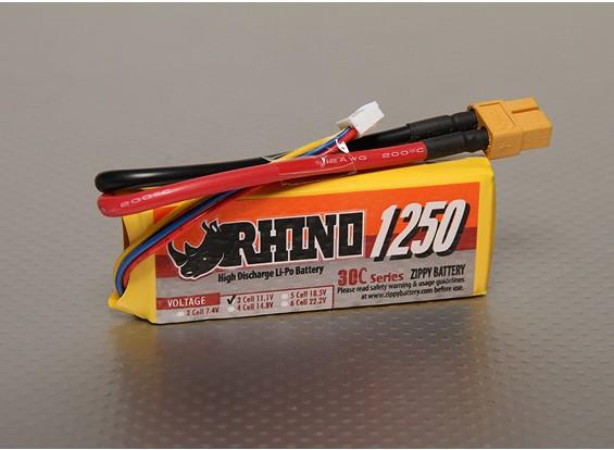 Rhino 1250mAh 3S 11.1v Lipo 30C Paquete