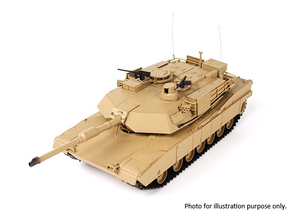 SCRATCH / DENT - US-M1A2 ABRAMS RC tanque w / 2.4ghzTX, guías metálicas, sonido y Airsoft (RTR)