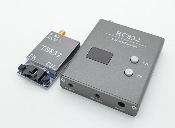 SCRATCH / DENT - SkyZone 5,8 g 600mw 32CH FPV Wireless AV Tx y Rx Conjunto TS832 y RC832