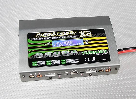 Turnigy Mega 200Wx2 Cargador de baterías / descargador (400w) V2