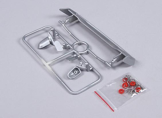 1/10 del ala y espejos con clips (plata)