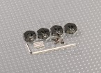 Adaptadores de aluminio color titanio ruedas con tornillos de seguridad de 4 mm - 12 mm (Hex)