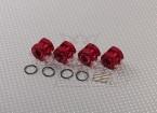 Rojo anodizado de aluminio de 1/8 Adaptadores de ruedas con ruedas tapón tuercas (17 mm Hex - 4pc)
