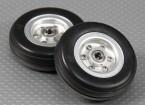Escala Jet / Warbird de aleación de 57 mm de la rueda w / Ranuras de neumático de goma / Ballraced (2 piezas)