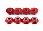 Brida de aluminio de perfil bajo Nyloc Tuerca M5 rojas (CW) 8pcs
